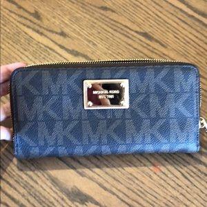 Michael Kors monogram brown zip around wallet